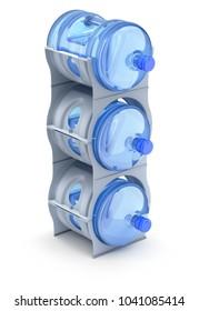 Water cooler bottle rack with three bottles - 3D illustration