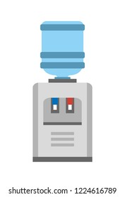 Water cooler or dispenser device that cools and dispenses liqueds. Image of big automatic watercooler  illustration on white