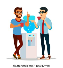 Water Cooler Gossip. Modern Office Water Cooler. Laughing Friends, Office Colleagues Men Talking To Each Other. Communicating Male. Isolated Cartoon Character Illustration