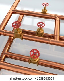 Water copper pipes close up, isolated. 3d render.