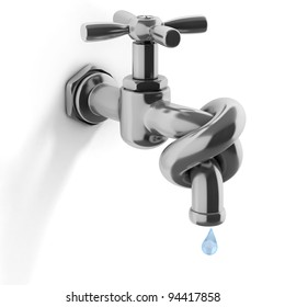 water crisis 3d concept - tap tied in a knot