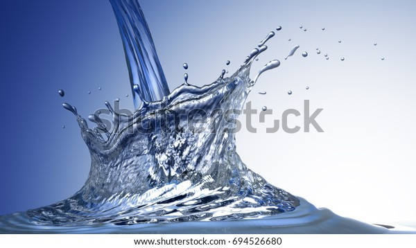 Water crown with drops and ripples. Water splash crown abstract design on blue gradient background. 3d rendering