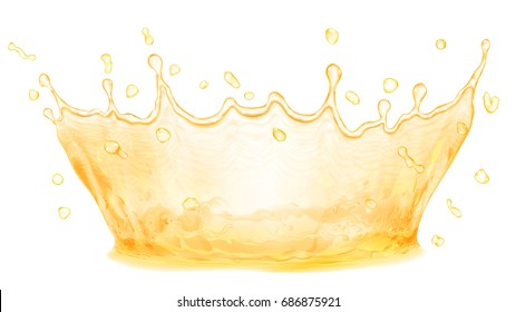 Water crown. Splash in yellow colors, isolated on white background