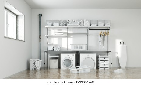 Water damage after a pipe burst in the laundry room with washing machine and dryer (3d rendering)