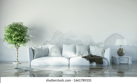 Water damage in the house after flooding with water spots on the wall (3d rendering)
