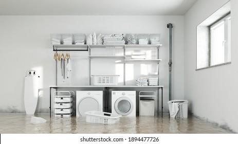 Wasserschäden im Waschraum im Untergeschoss mit Schimmel an den feuchten Wänden (3D-Rendering)