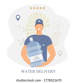 Water delivery service banner. A male courier holds a big water bottle. Messenger in blue uniform, baseball cap. Mobile app template decorated abstract leaves. Concept cartoon raster illustration