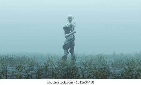Water Demon Woman with White Eyes in Tight Leggings Over a Black Swimsuit With Tentacles Abstract Assassin Demon Foggy Watery Void with Reeds and Grass background Front View 3d Illustration 3d render