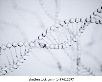 Water DNA. Science background molecules water on gray background. 3D rendering illustration