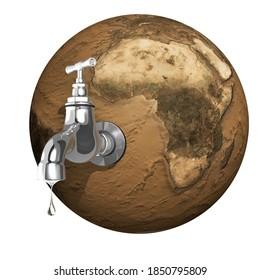 Wasser, das aus einem offenen Wasserhahn tropft, der an einem getrockneten Planeten Erde befestigt ist. 3D-Illustration einzeln auf weißem Hintergrund.