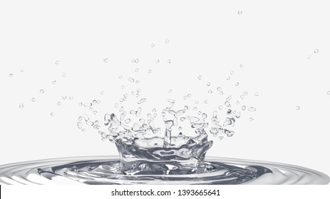 Water  drop creates interesting crown like shape bubbles and  ripples white background 3d render