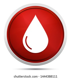 Water drop icon isolated on Promo Red Round Button