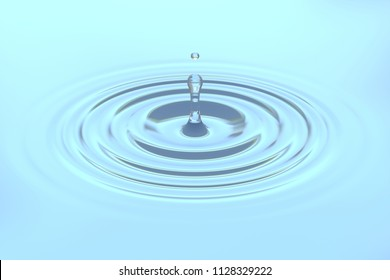 Water drop or rain droplet falling on water surface background, creating round ripple splashing with reflection. 3D illustration