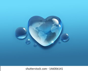 water drop in the shape of heart with the world map inside