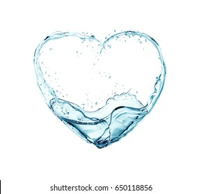 water flowing into heart shapes,3d illustration