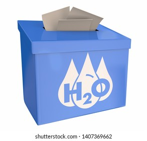 Water H20 Drinkable Clean Resource Suggestion Box Vote Feedback 3d Illustration
