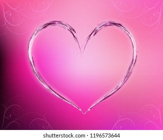 Water heart on pink gradient background, with floral ornament.
