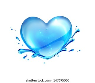 Water heart on white background