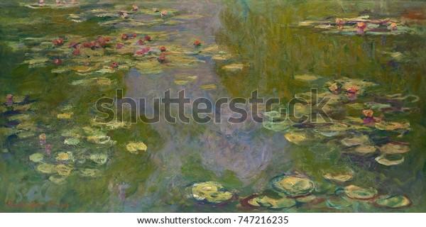 Водяные лилии, Клод Моне, 1919, Французский импрессионист живопись, холст, масло. Моне оставил многие из его позднего произведения незаконченными, но эта работа была исключением, которое он подписал и продал в 1919 году
