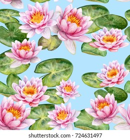 Water lilies. Pink lotuses. Blue background. Seamless pattern. Watercolor. Illustration