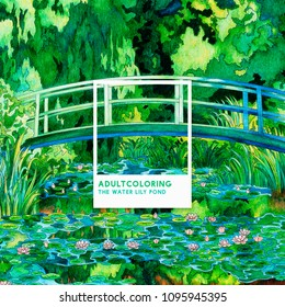 The Water Lily Pond (1899) by Claude Monet: adult coloring page