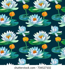 Water lily seamless pattern on dark background, watercolor illustration. It can be used for card, background and invitations, design