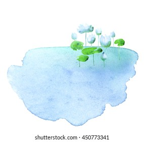water lotus blooming flowers in the pond. watercolor hand drawn illustration.