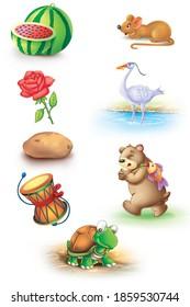 water melon, rat, damru, rose, egret, potato, bear, tortoise cartoon image