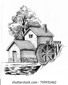 Water mill. Black and white ink illustration.