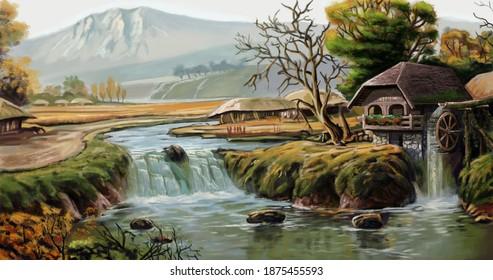 water mill, waterfall illustration work