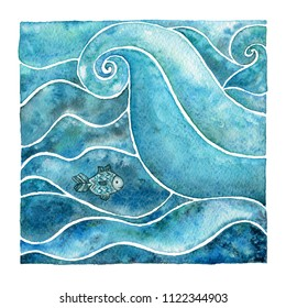 Water. Natural element. Watercolor illustration.