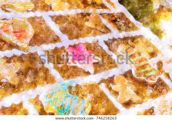 Water Paint of Christmas theme Background of a Roof of Candy Gingerbread House(created digitally)