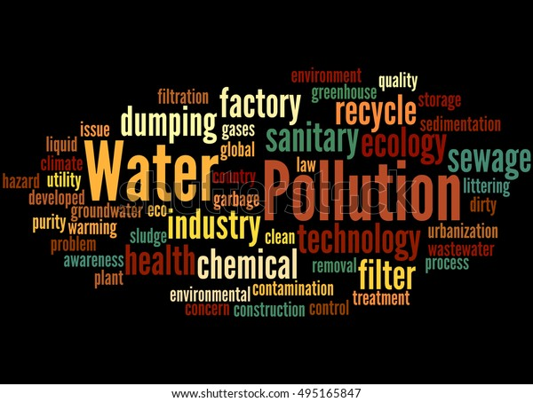Water pollution, word cloud concept on black background.