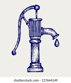 Water pump. Doodle style. Raster version