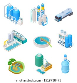 Water purification technology. Isometric treatment water industrial system, wastewater separator isolated set