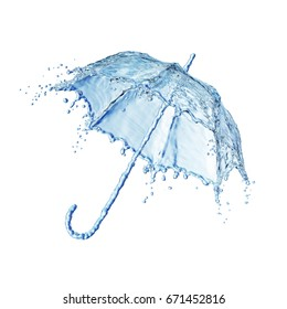 Water splash in the form of a umbrella. Isolated on white background. 3d rendering