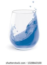 Water Splashing In Glasses isolated on white. 3d illustration