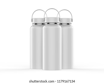 Water sport bike Bottle with lid Mockup isolated on white background, 3d illustration