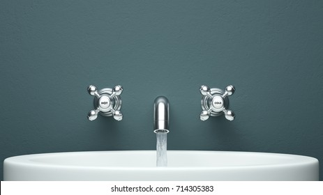 Water tab frontal view with copy space 3d rendering