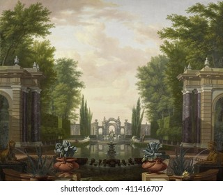 Water Terrace with Statues and Fountains in a Park, by Isaac de Moucheron, 1700-44, Dutch painting. Oil on canvas. Moucheron was an 18th-century painter and interior wall painter from the Northern Ne