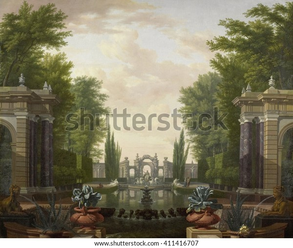 Water Terrace Statues Fountains Park By Stock Illustration 411416707