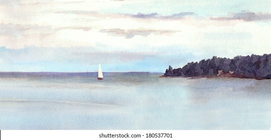 Water view landscape - lake or sea, island, sky with clouds and white sail. Watercolor painted drawing.