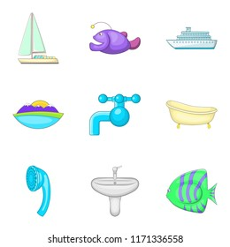 Water vocation icons set. Cartoon set of 9 water vocation icons for web isolated on white background