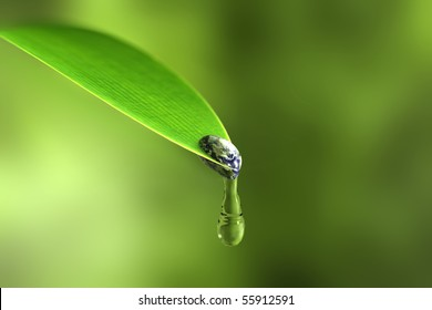 Water waste concept. Valuable water drips from the tiny, fragile Earth.