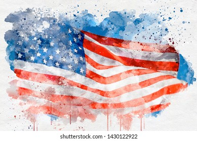 Watercalor american flag paint background.