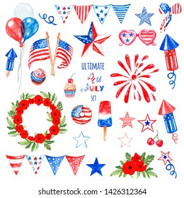 Watercolor 4th of July elemnts and symbols for design, isolated on white background. Red, white and blue colors of US flag, hand painted decor, treats, snacks to celebrate american nation's holiday.