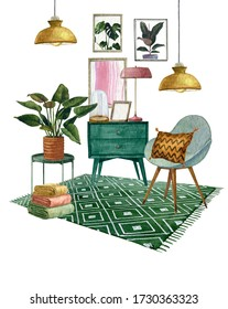 Watercolor 60-s interior bohemian  background with mid century modern furniture,Interior Decor Scene.Cozy living room with houseplant,greenery  table,rug,lamp,armchair.Housewarming print.Stay at home
