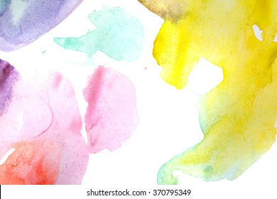 Watercolor abstract art. Drawing in the children's style. Yellow, purple, blue, aquamarine shades. Design elements.
