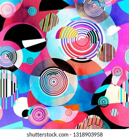 Watercolor abstract background with different geometric color objects