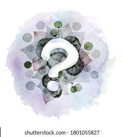 Abstrakter Hintergrund mit Zeichenfrage. Aquarellfarbene Textur.